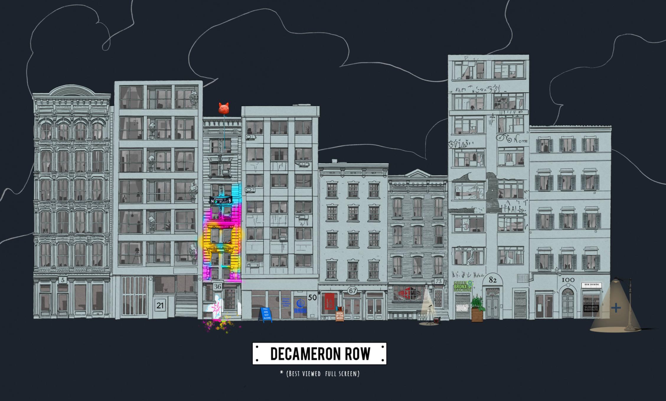 Row of buildings.