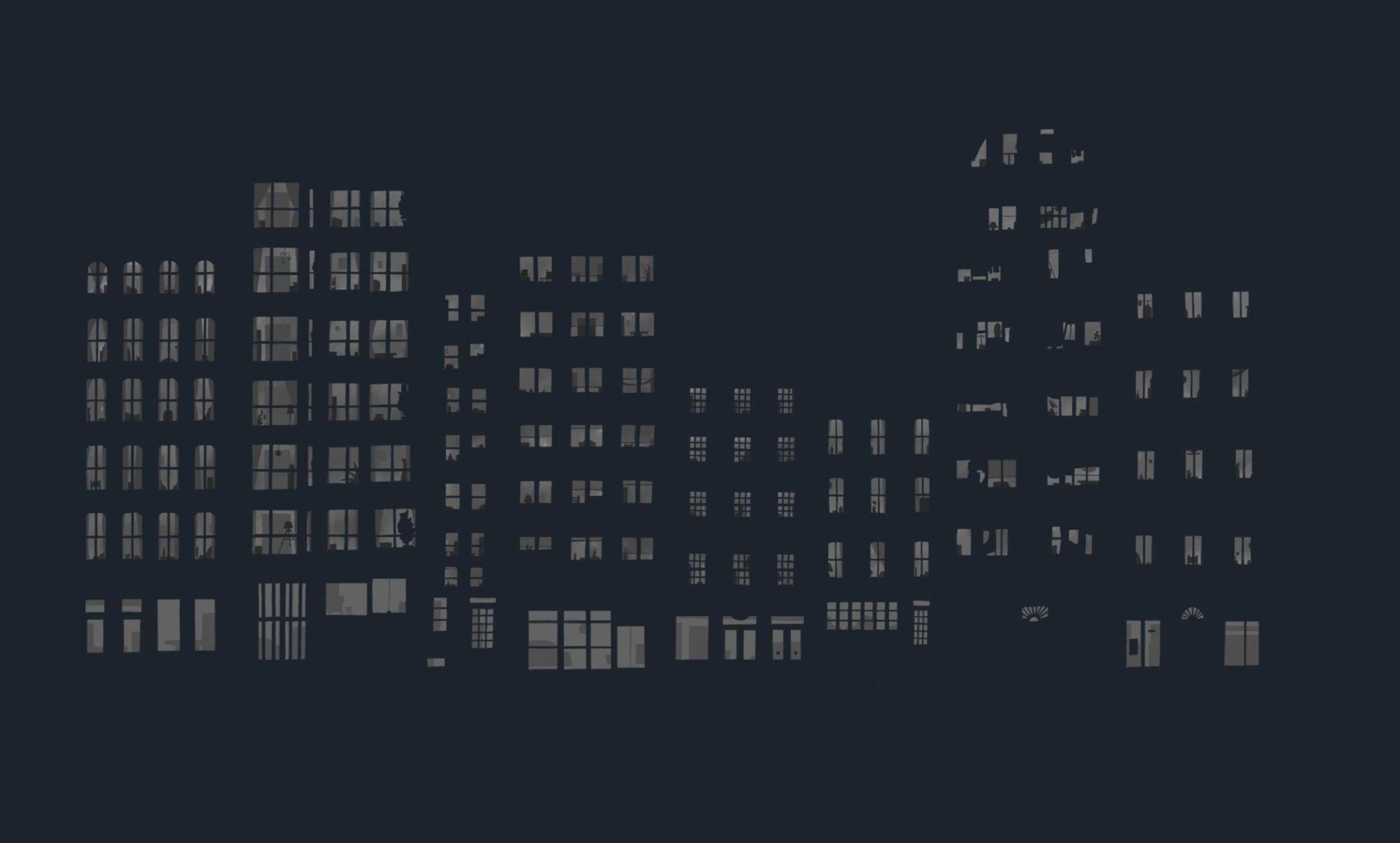 Building windows lit.